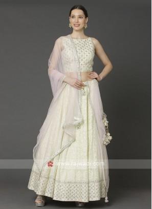 Lucknowi Cream Choli Suit