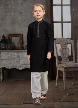 Lucknowi Kurta Pajama In Black And White Color