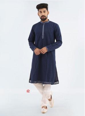 Lucknowi Kurta Pajama Set In Navy Blue Color