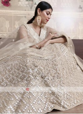 lucknowi lehenga choli in cream color