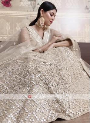 lucknowi lehenga choli in cream color