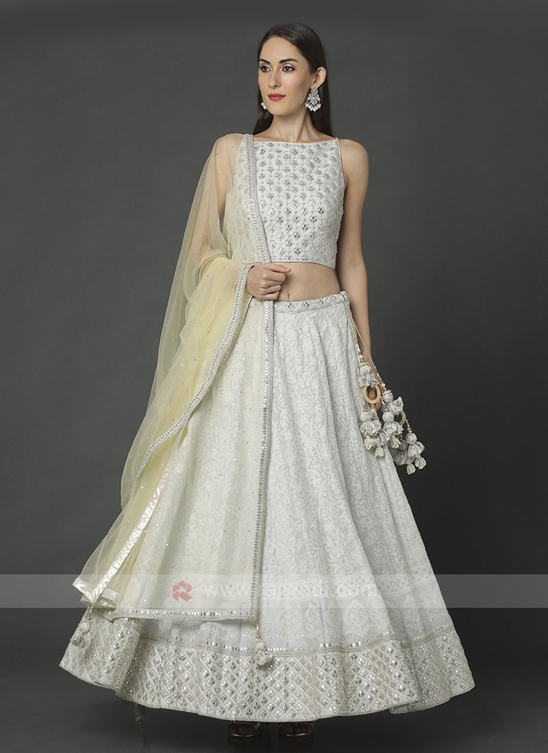 Lucknowi Off White Choli Suit