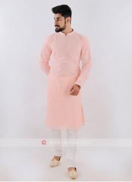 Lucknowi Peach & White Kurta Pajama
