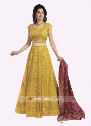 Lucknowi Work Mustard Yellow Choli Suit