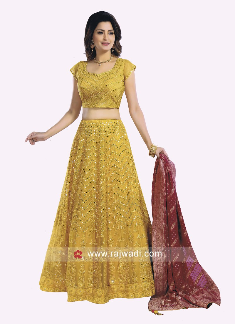 Lucknowi Work Mustard Yellow Choli Suit