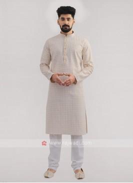 Lucknowi Work Cream Kurta Pajama