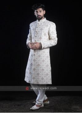 Lucknowi Work White Sherwani