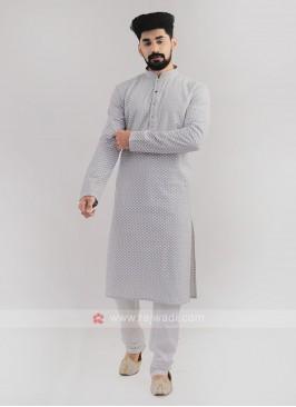 Lucknowi Work Grey Kurta Pajama