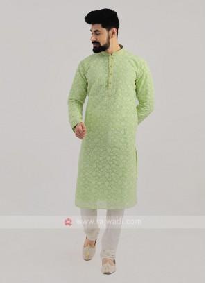 Lucknowi Work Kurta Pajama In Light Green