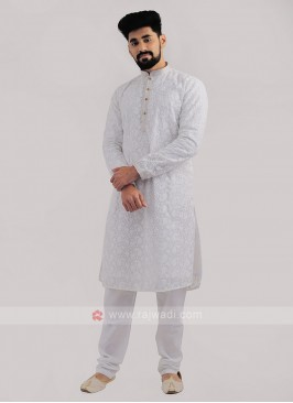 Lucknowi Work Kurta Pajama In White