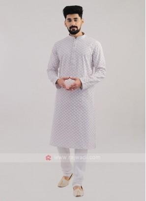 Lucknowi Work Lilac Kurta Pajama