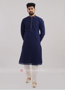 Lucknowi Work Navy Blue Kurta Pajama