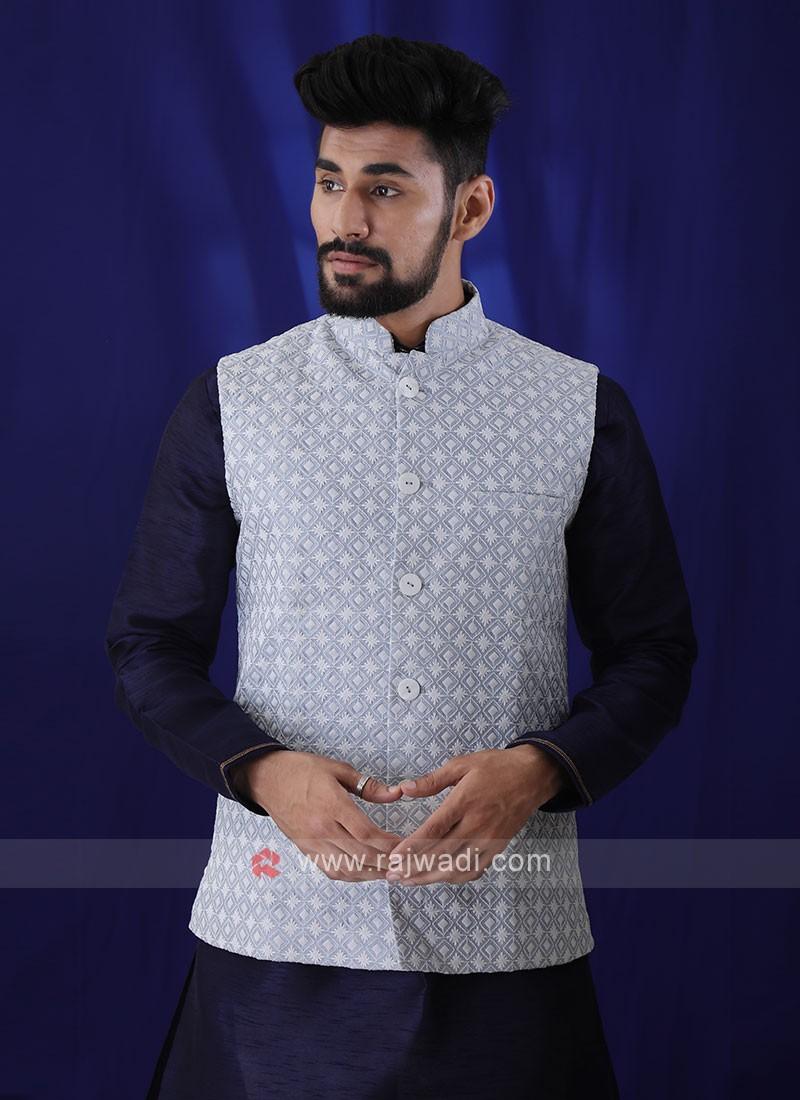 Lucknowi Work Nehru Jacket