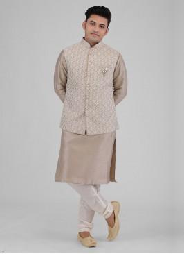 Lucknowi Work Nehru Jacket Suit