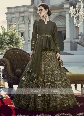 Lucknowi work net lehenga choli