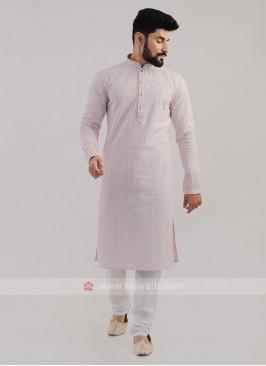 Lucknowi Work Onion Pink Kurta Pajama