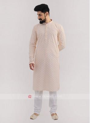 Lucknowi Work Peach Kurta Pajama