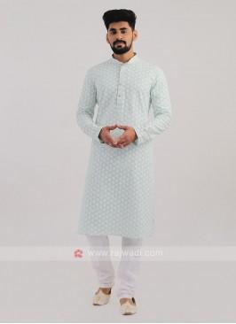 Lucknowi Work Pista Green Kurta Pajama