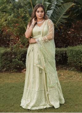 Lucknowi Work Pista Green Lehenga Choli