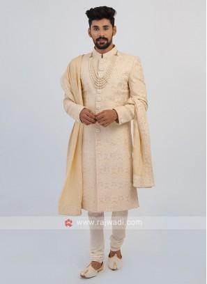 Lucknowi Work Sherwani For Groom