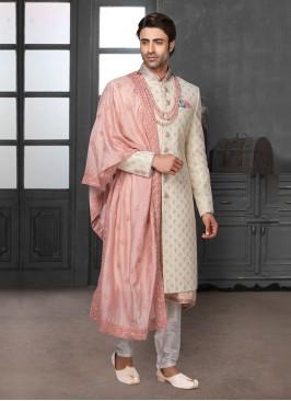 Lucknowi Work Sherwani For Wedding