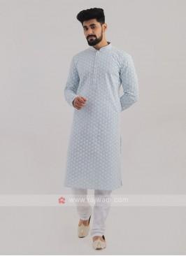 Lucknowi Work Sky Blue Kurta Pajama
