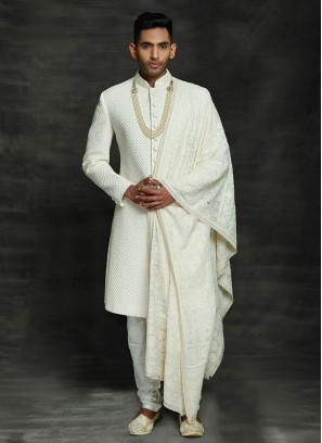Lucknowi Work White Wedding Sherwani
