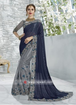 Lycra and Net Embroidered Half Saree