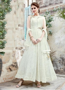 Lycra Cotton Anarkali Suit in Off White