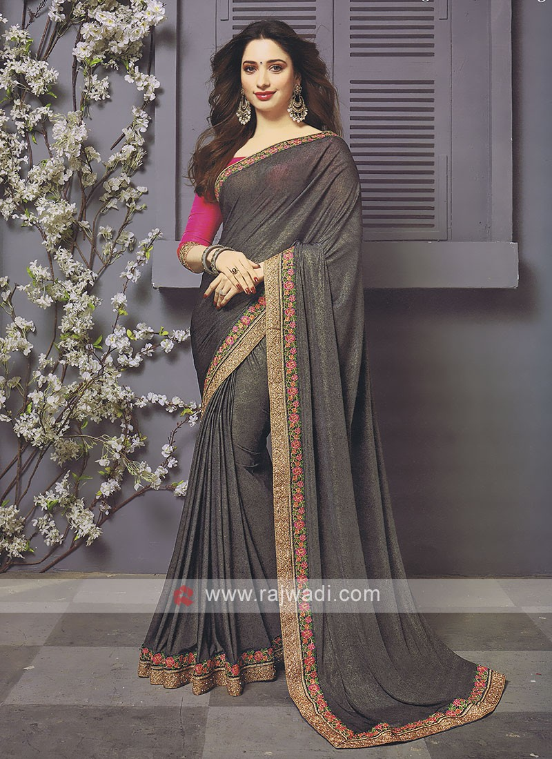Lycra Dark Grey Designer Saree