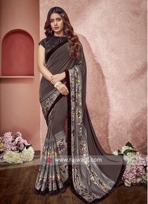 Lycra fabric Saree for Party
