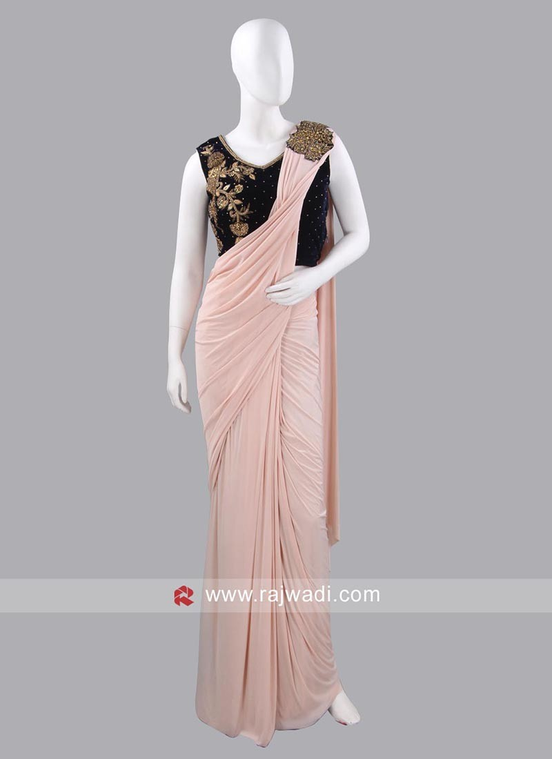 Lycra Light Peach Pre Stitched Saree