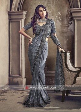 Lycra Party Wear Saree in Grey