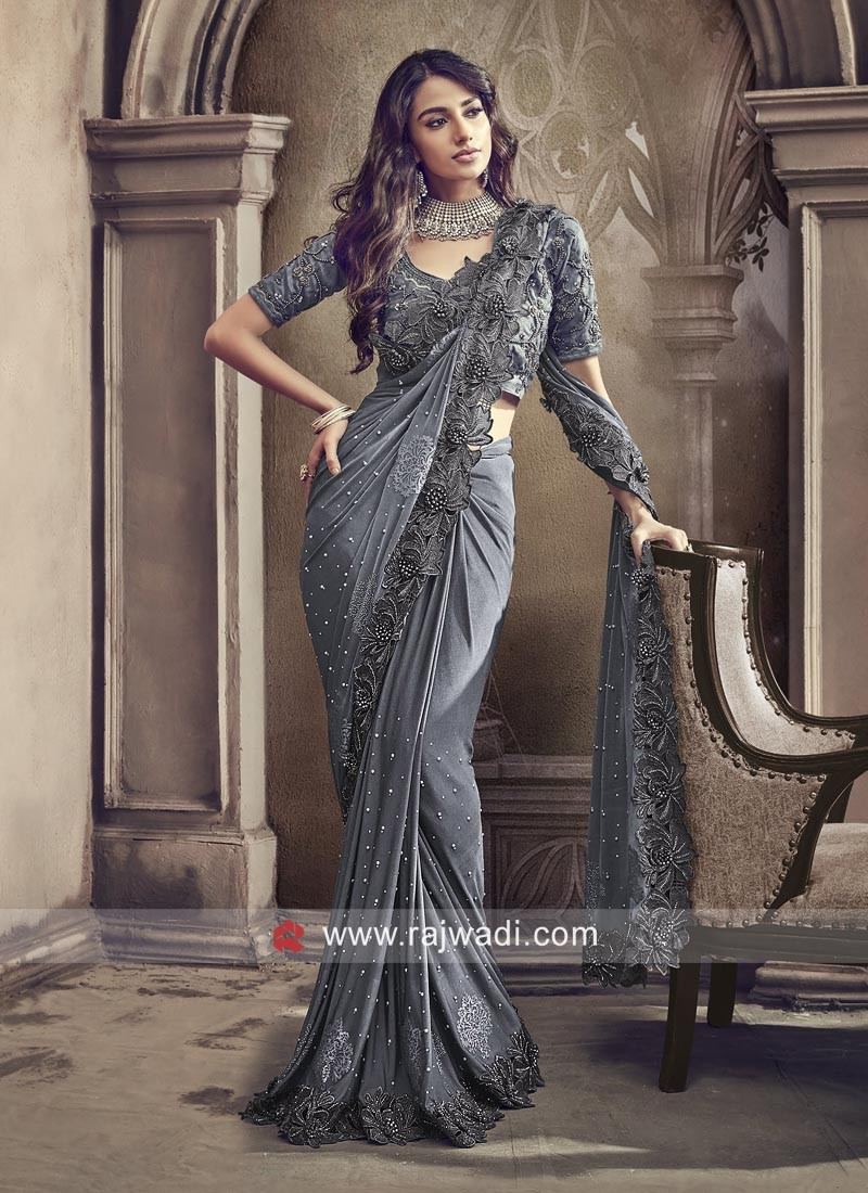 21cfc050adc Lycra Party Wear Saree in Grey. Hover to zoom