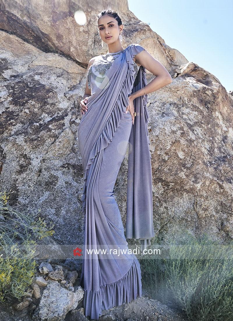 Lycra Party Wear Saree In Grey