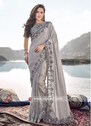 Lycra and Net Party Wear Saree in Grey