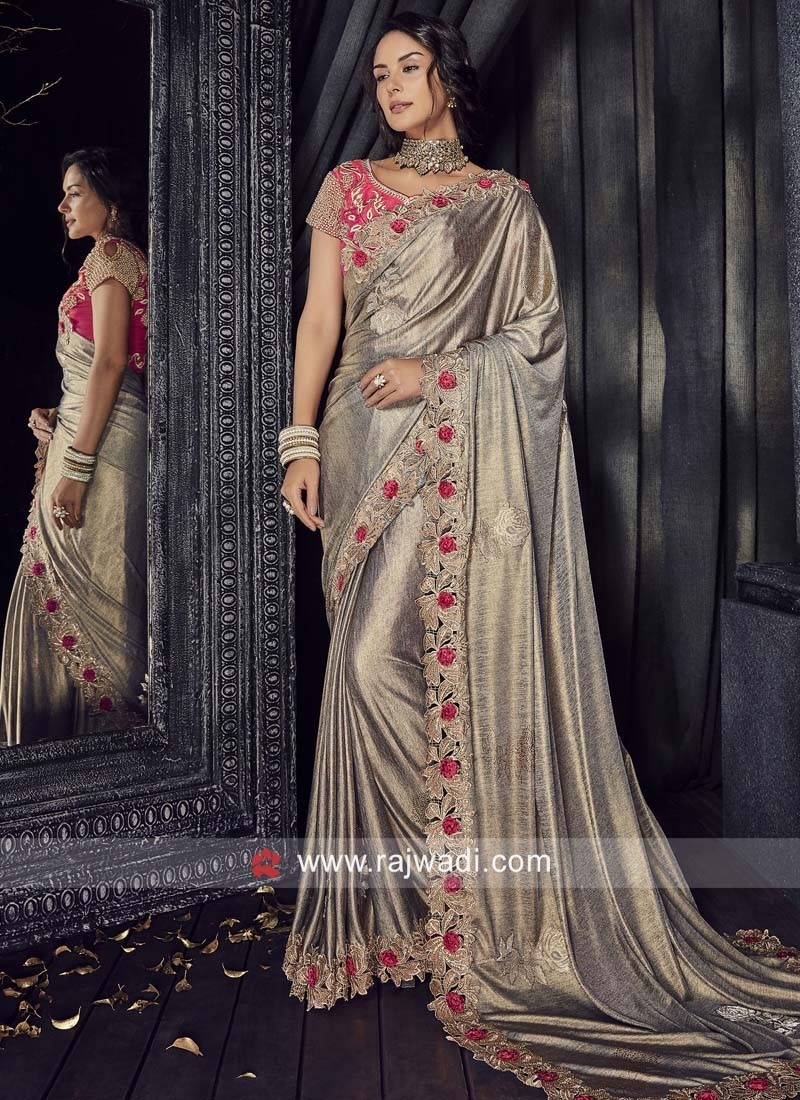6171816a89e Lycra Party Wear Saree with Cut Work Border. Hover to zoom