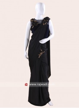Lycra Pre Stitched Saree with Ready Choli
