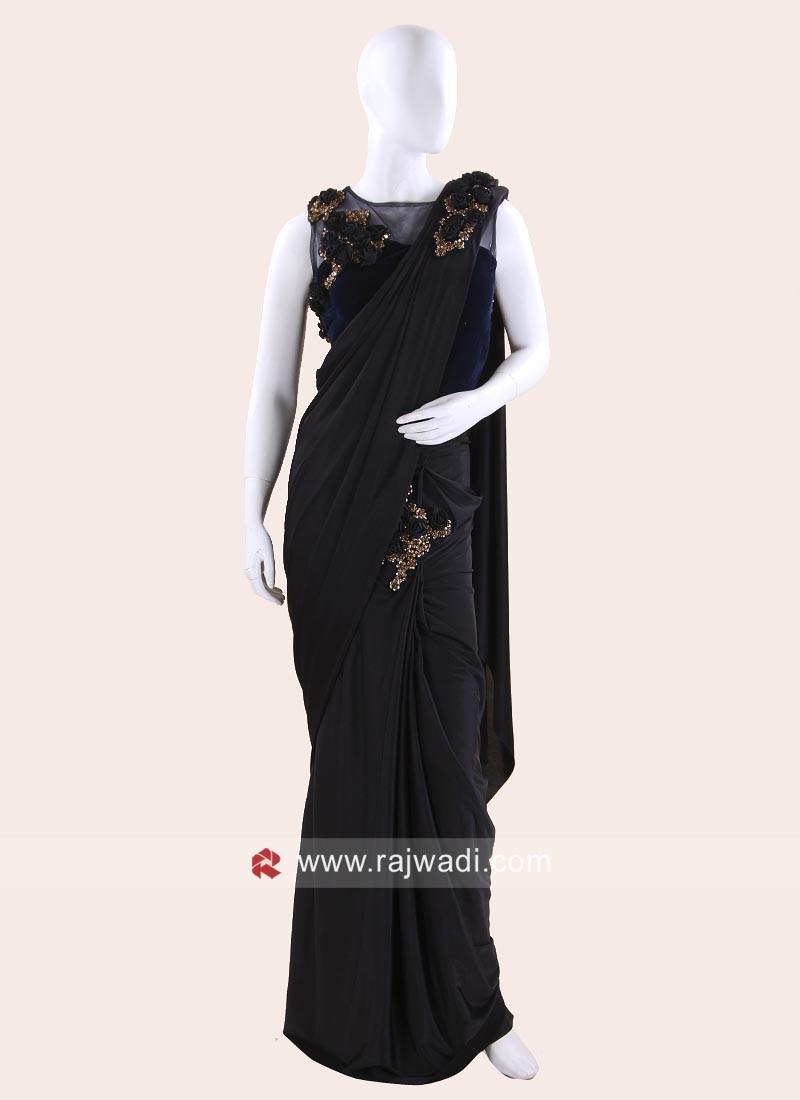 Lycra Pre Stitched Saree with Ready Choli