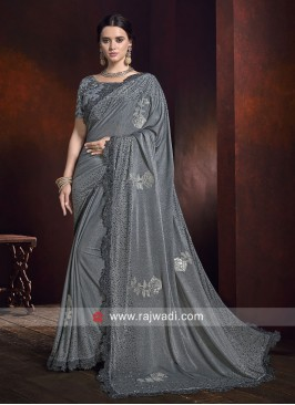 Lycra Shimmer Embroidered Saree