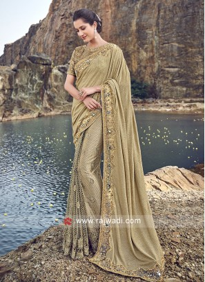 Lycra and Net Embroidered Saree