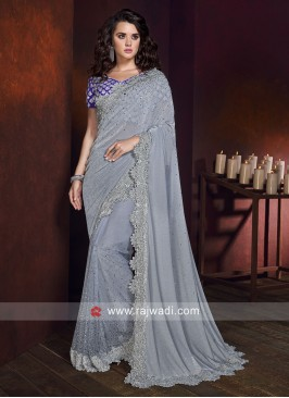 Lycra Shimmer Grey Saree with Cutwork Border
