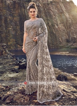 Net Grey Saree with Designer Border
