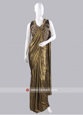 Lycra Shimmer Plain Pre Stitched Saree