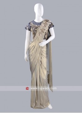 Lycra Shimmer Pre Stitched Saree