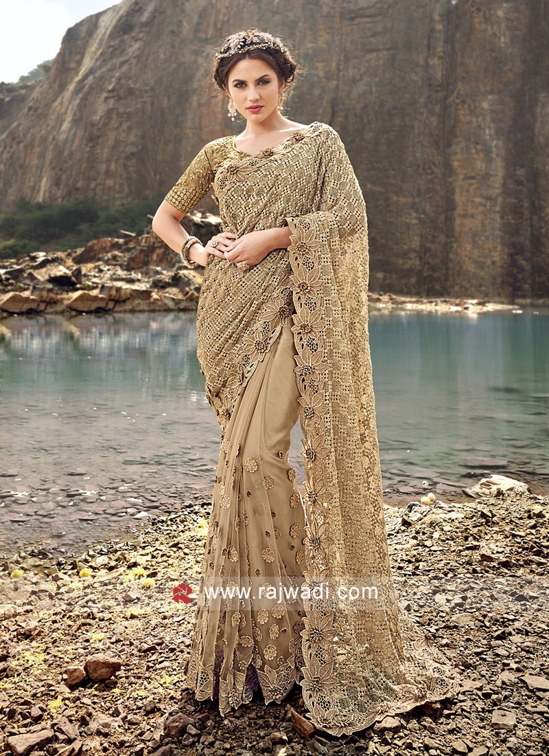 Net Golden Saree with Raw Silk Blouse