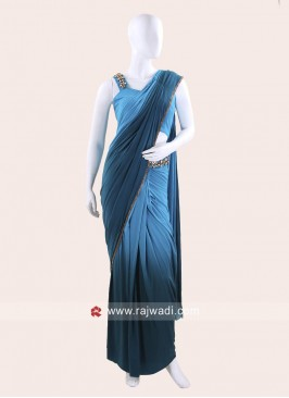 Lycra Stone Work Draped Saree