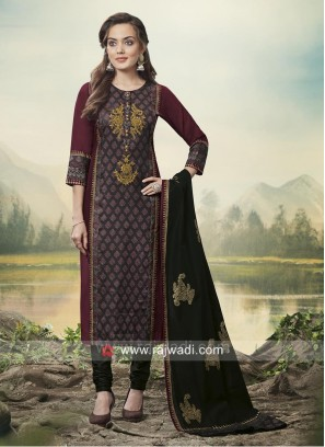 Magenta and Black Churidar Suit