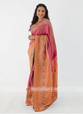 Magenta And Orange Banarasi Silk Saree