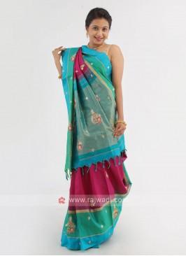 Magenta And Rama Green Silk Saree